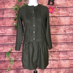 J Crew Tunic Top Dress 2 Brown Wool Pleated Boho